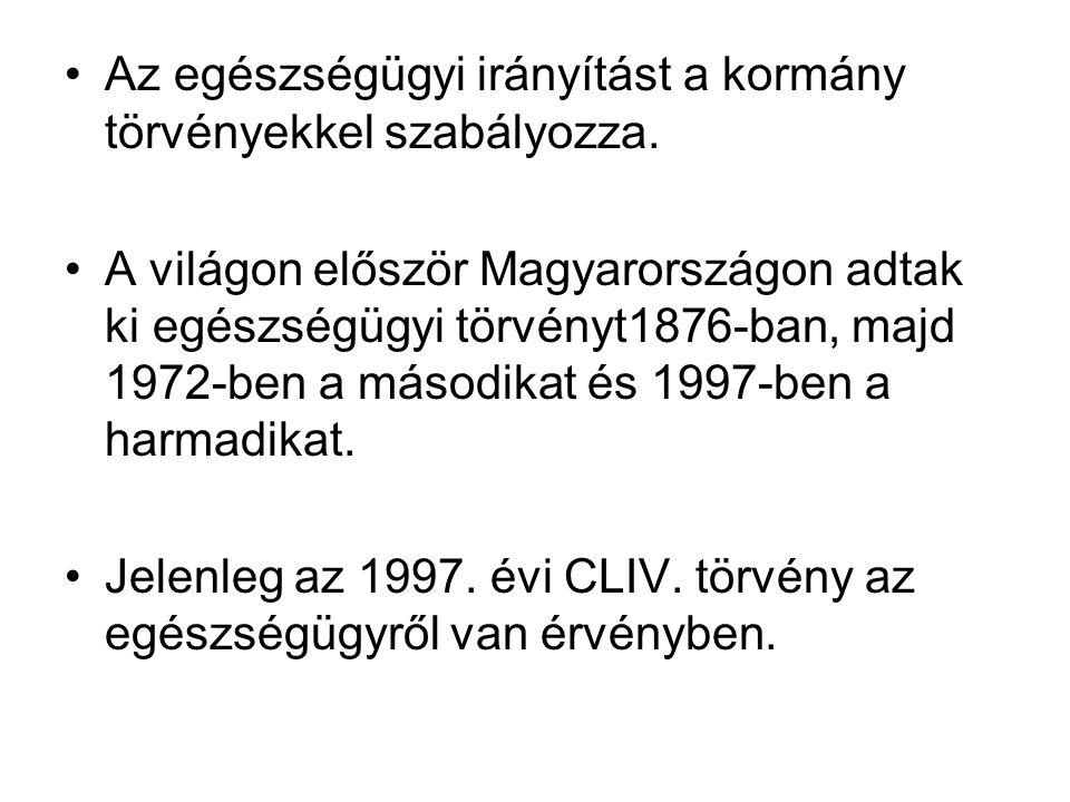 Az egészségügyi irányítást a kormány törvényekkel szabályozza. A világon először Magyarországon adtak ki egészségügyi törvényt1876-ban, majd 1972-ben