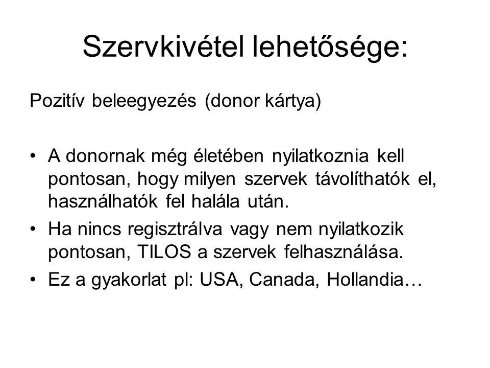 Szervkivétel lehetősége: Pozitív beleegyezés (donor kártya) A donornak még életében nyilatkoznia kell pontosan, hogy milyen szervek távolíthatók el, h