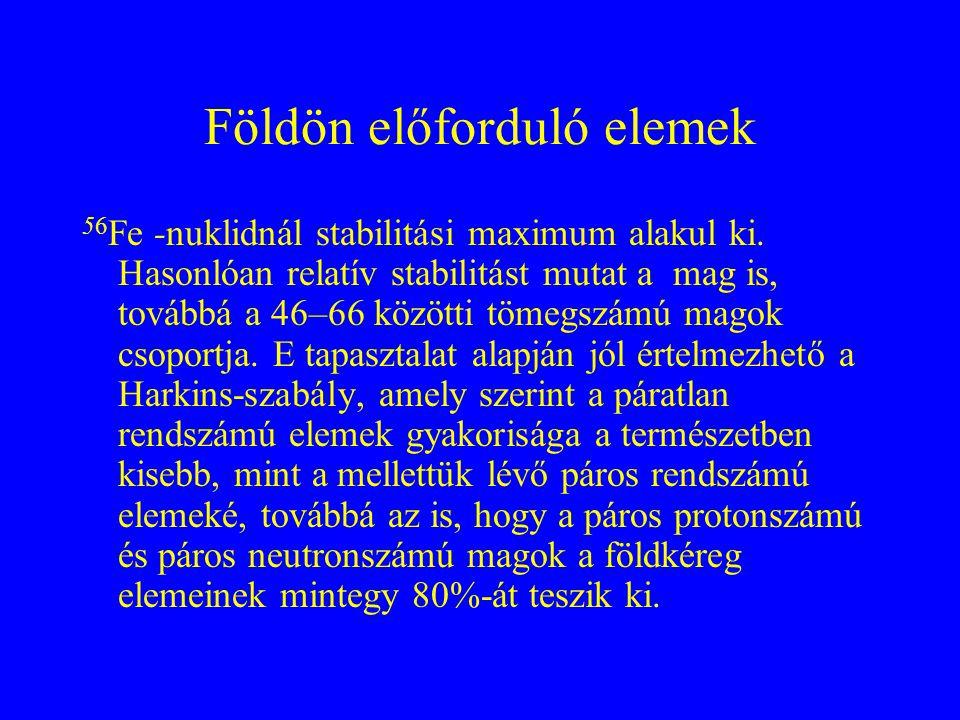 Földön előforduló elemek 56 Fe -nuklidnál stabilitási maximum alakul ki. Hasonlóan relatív stabilitást mutat a mag is, továbbá a 46–66 közötti tömegsz