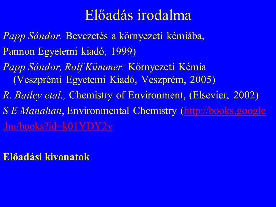 Előadás irodalma Papp Sándor: Bevezetés a környezeti kémiába, Pannon Egyetemi kiadó, 1999) Papp Sándor, Rolf Kümmer: Környezeti Kémia (Veszprémi Egyet