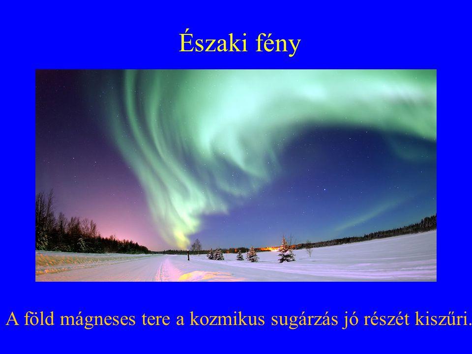 Északi fény A föld mágneses tere a kozmikus sugárzás jó részét kiszűri.