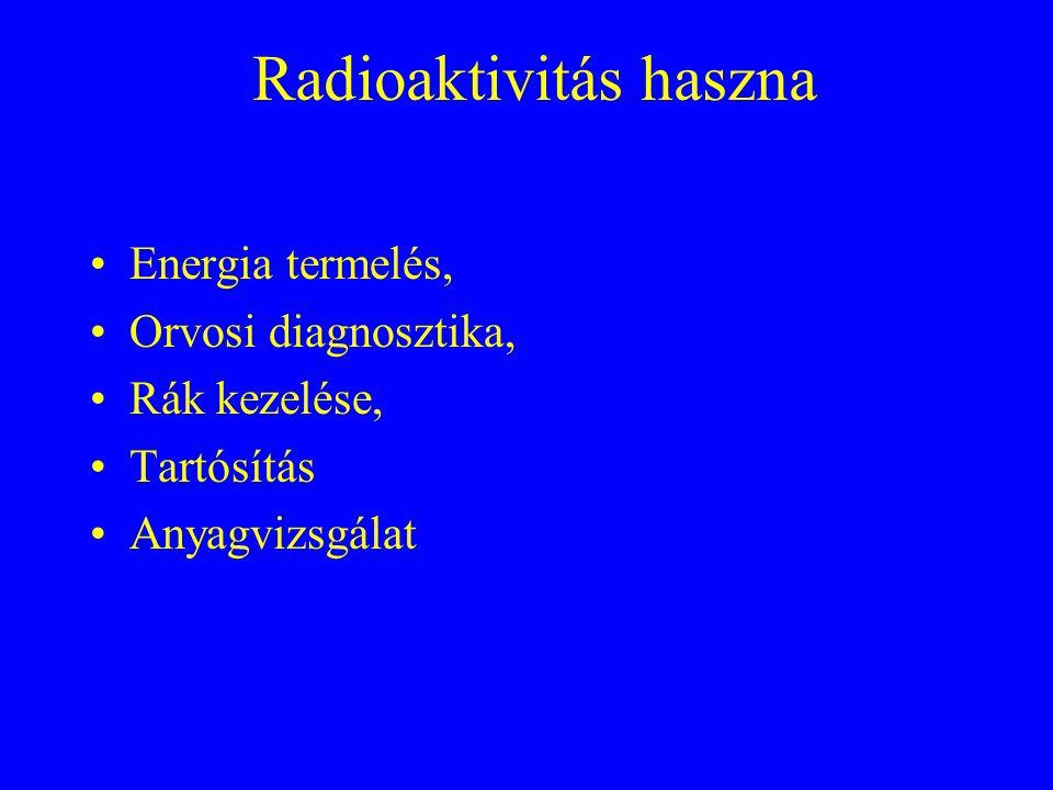 Radioaktivitás haszna Energia termelés, Orvosi diagnosztika, Rák kezelése, Tartósítás Anyagvizsgálat
