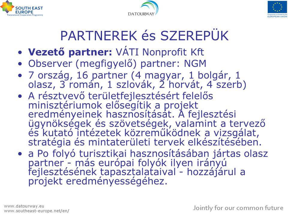 PARTNEREK és SZEREPÜK Vezető partner: VÁTI Nonprofit Kft Observer (megfigyelő) partner: NGM 7 ország, 16 partner (4 magyar, 1 bolgár, 1 olasz, 3 román, 1 szlovák, 2 horvát, 4 szerb) A résztvevő területfejlesztésért felelős minisztériumok elősegítik a projekt eredményeinek hasznosítását.