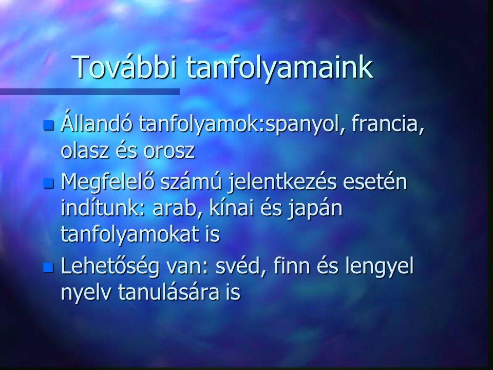 További tanfolyamaink n Állandó tanfolyamok:spanyol, francia, olasz és orosz n Megfelelő számú jelentkezés esetén indítunk: arab, kínai és japán tanfolyamokat is n Lehetőség van: svéd, finn és lengyel nyelv tanulására is