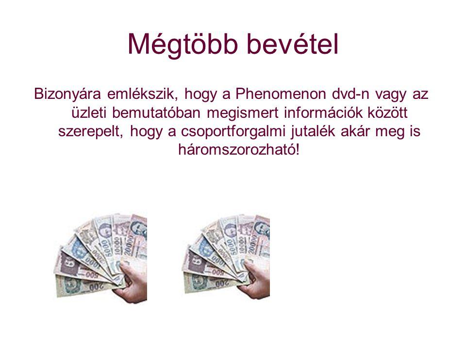 Mégtöbb bevétel Bizonyára emlékszik, hogy a Phenomenon dvd-n vagy az üzleti bemutatóban megismert információk között szerepelt, hogy a csoportforgalmi jutalék akár meg is háromszorozható!