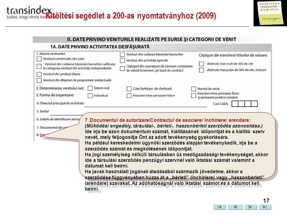 Kitöltési segédlet a 200-as nyomtatványhoz (2009)  18 8.
