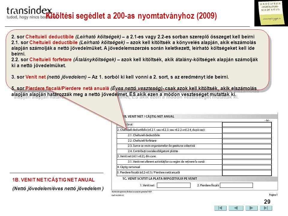 Kitöltési segédlet a 200-as nyomtatványhoz (2009)  30 3.