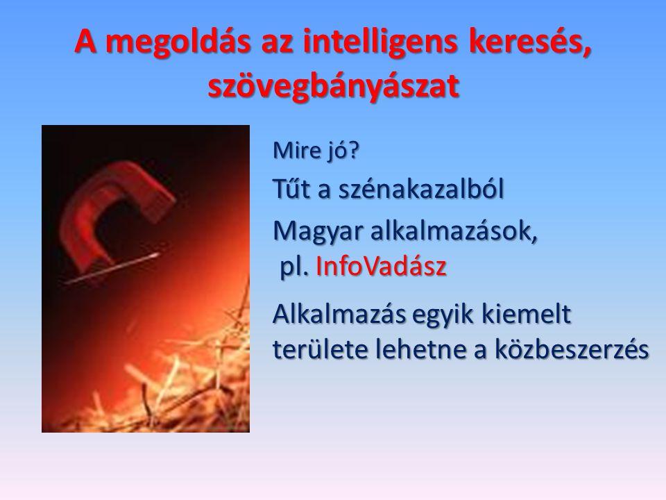 A megoldás az intelligens keresés, szövegbányászat Mire jó? Tűt a szénakazalból Magyar alkalmazások, pl. InfoVadász pl. InfoVadász Alkalmazás egyik ki