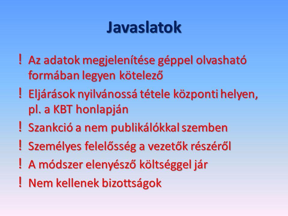 Javaslatok ! Az adatok megjelenítése géppel olvasható formában legyen kötelező ! Eljárások nyilvánossá tétele központi helyen, pl. a KBT honlapján ! S