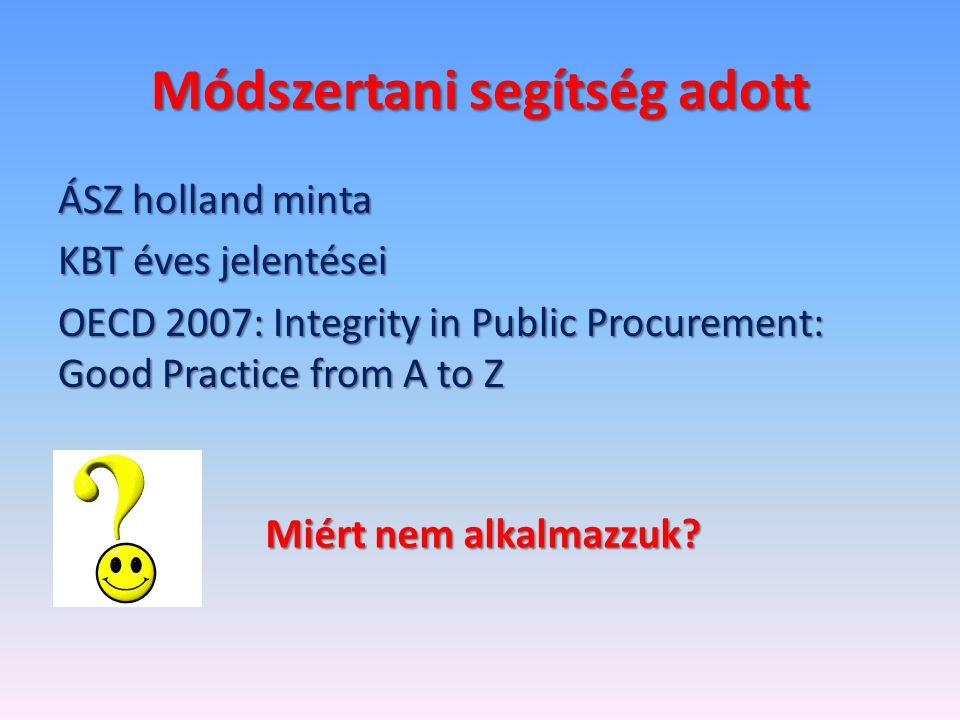 Módszertani segítség adott ÁSZ holland minta KBT éves jelentései OECD 2007: Integrity in Public Procurement: Good Practice from A to Z Miért nem alkalmazzuk