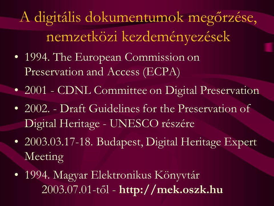 A digitális dokumentumok megőrzése, nemzetközi kezdeményezések 1994. The European Commission on Preservation and Access (ECPA) 2001 - CDNL Committee o