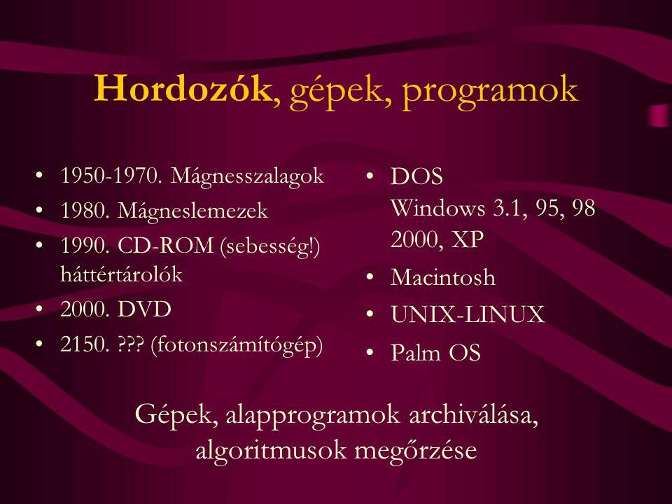 Hordozók, gépek, programok 1950-1970. Mágnesszalagok 1980. Mágneslemezek 1990. CD-ROM (sebesség!) háttértárolók 2000. DVD 2150. ??? (fotonszámítógép)