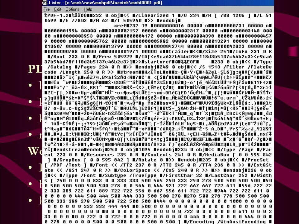 Hordozók, formátumok I. Szöveges információ PDF betűkészletek, fontok mentése karakterek képi mentése kompatibilitás - 3 - 4 - 5 - 6 magyar karakterek