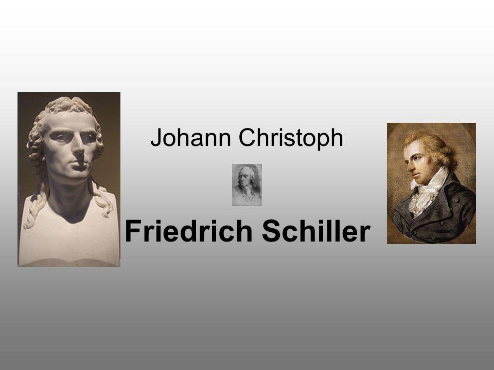 Élete 1759 november 10.-én Marbach am Neckarban született 1805 május 5.-én halt meg Weimarban Német költő, drámaíró, filozófus és történész A weimari kalasszikusok tagja (Goethe, Wieland és Herder mellett) Több színdarabja a német színházak állandó repertoárjában szerepel Balladái a legkedveltebb német versek közé tartoznak