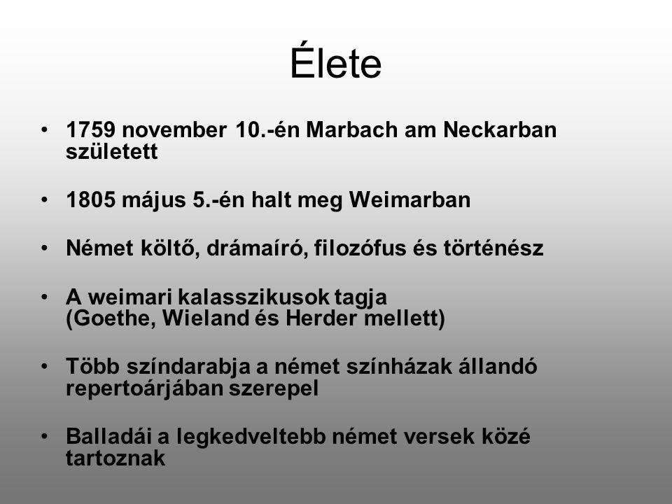Élete 1759 november 10.-én Marbach am Neckarban született 1805 május 5.-én halt meg Weimarban Német költő, drámaíró, filozófus és történész A weimari