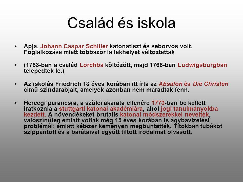 Család és iskola Apja, Johann Caspar Schiller katonatiszt és seborvos volt. Foglalkozása miatt többször is lakhelyet változtattak (1763-ban a család L
