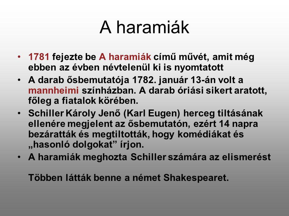 A haramiák 1781 fejezte be A haramiák című művét, amit még ebben az évben névtelenül ki is nyomtatott A darab ősbemutatója 1782. január 13-án volt a m