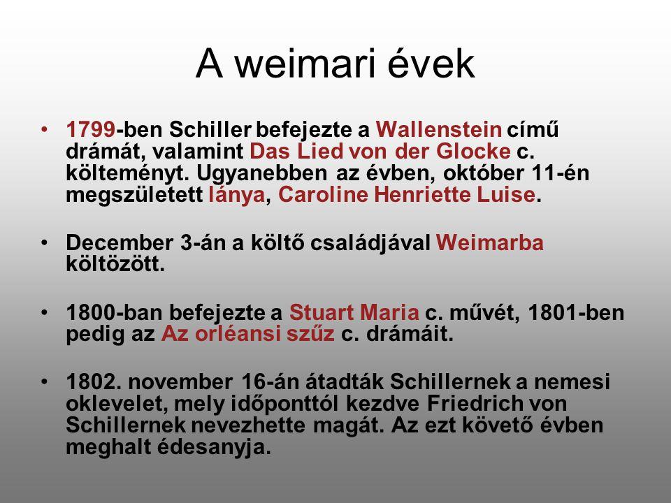 A weimari évek 1799-ben Schiller befejezte a Wallenstein című drámát, valamint Das Lied von der Glocke c. költeményt. Ugyanebben az évben, október 11-