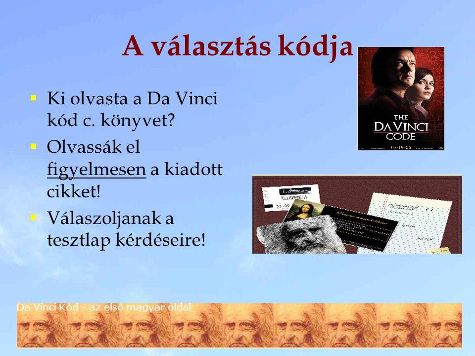 A választás kódja  Ki olvasta a Da Vinci kód c. könyvet.