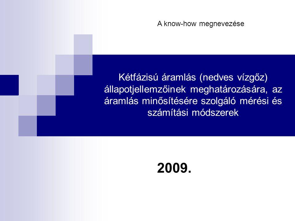 Kétfázisú áramlás (nedves vízgőz) állapotjellemzőinek meghatározására, az áramlás minősítésére szolgáló mérési és számítási módszerek 2009.