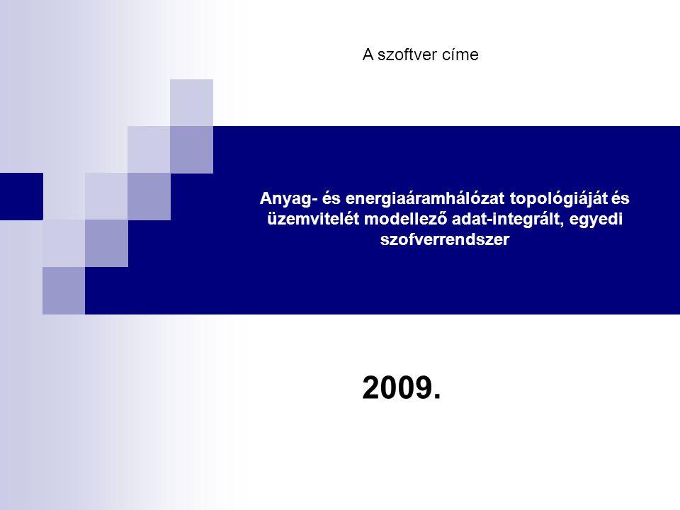 Anyag- és energiaáramhálózat topológiáját és üzemvitelét modellező adat-integrált, egyedi szofverrendszer 2009.