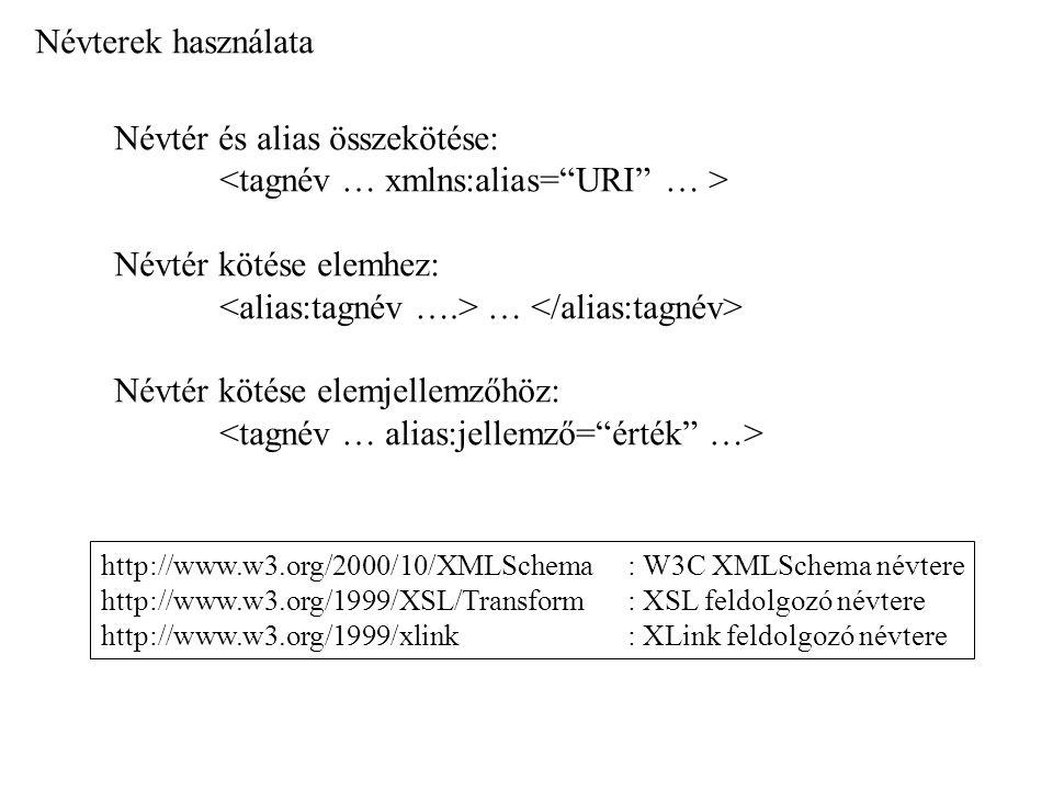 Névterek használata Névtér és alias összekötése: Névtér kötése elemhez: … Névtér kötése elemjellemzőhöz: http://www.w3.org/2000/10/XMLSchema : W3C XML