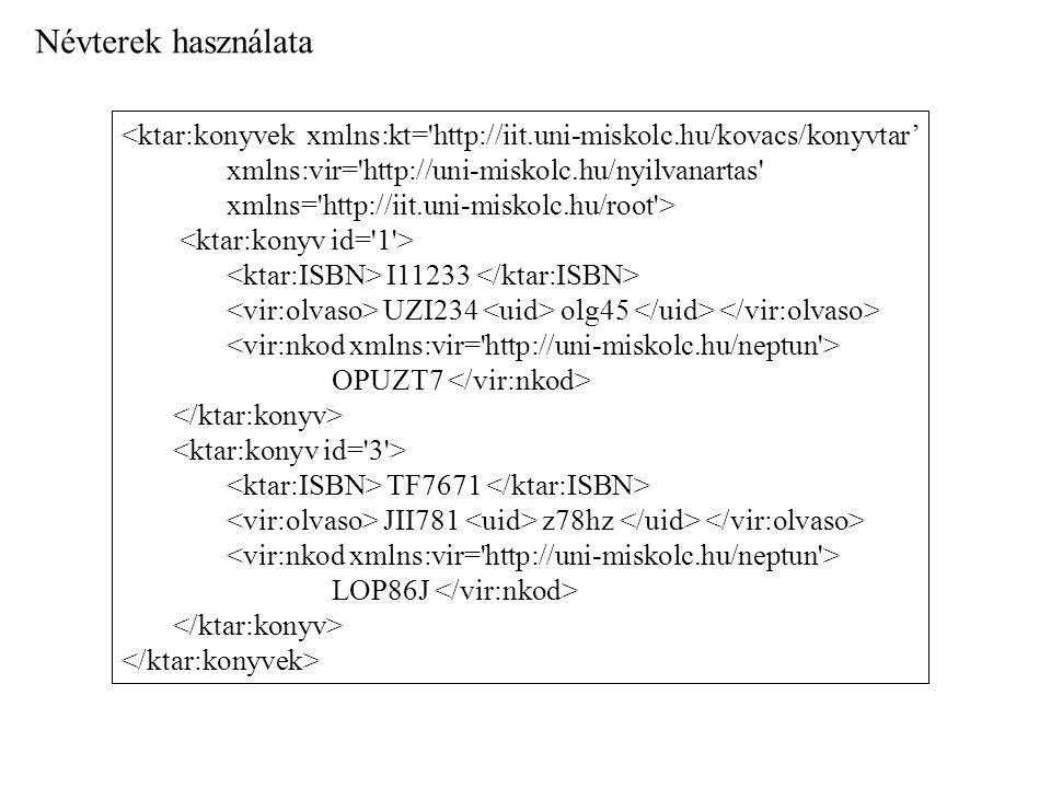Névterek használata <ktar:konyvek xmlns:kt='http://iit.uni-miskolc.hu/kovacs/konyvtar' xmlns:vir='http://uni-miskolc.hu/nyilvanartas' xmlns='http://ii