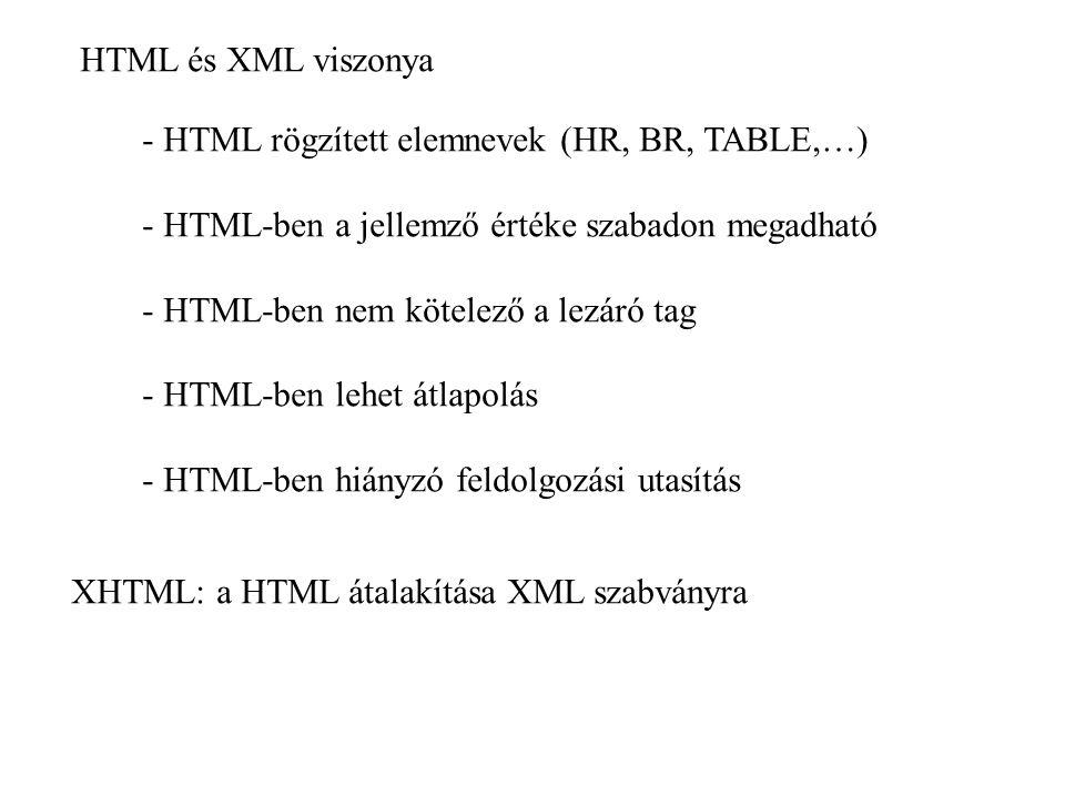 HTML és XML viszonya - HTML rögzített elemnevek (HR, BR, TABLE,…) - HTML-ben a jellemző értéke szabadon megadható - HTML-ben nem kötelező a lezáró tag