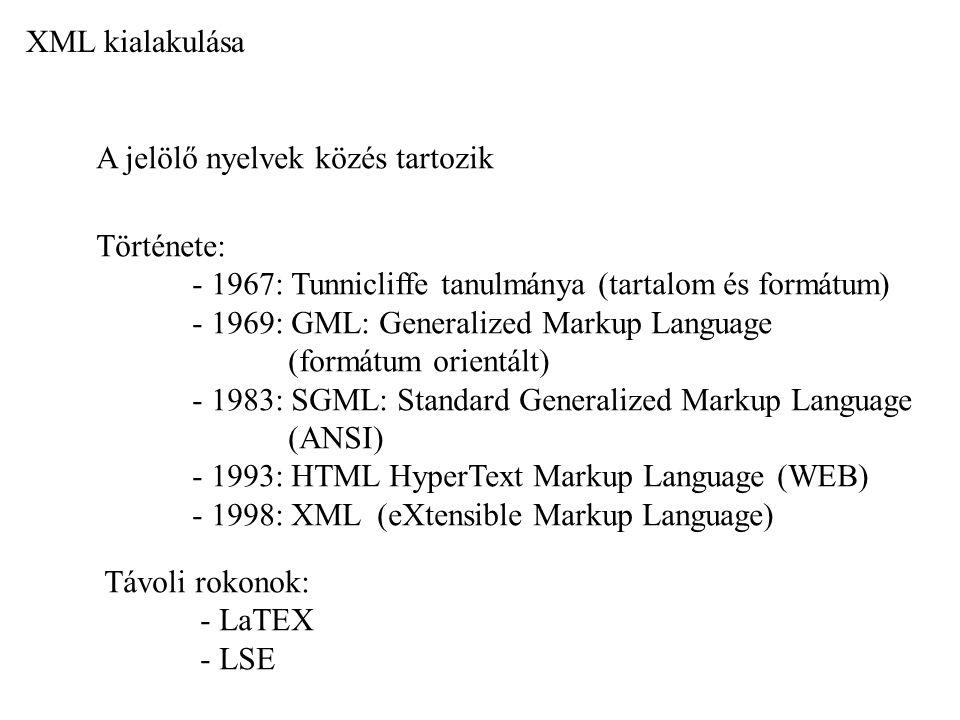 XML kialakulása A jelölő nyelvek közés tartozik Története: - 1967: Tunnicliffe tanulmánya (tartalom és formátum) - 1969: GML: Generalized Markup Langu