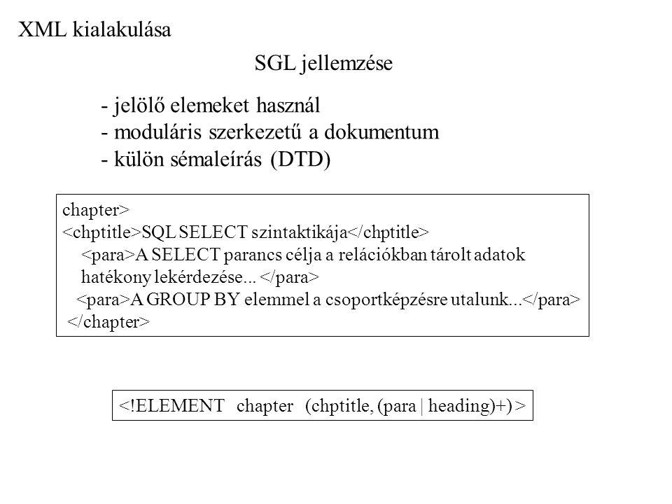 SGL jellemzése - jelölő elemeket használ - moduláris szerkezetű a dokumentum - külön sémaleírás (DTD) chapter> SQL SELECT szintaktikája A SELECT paran