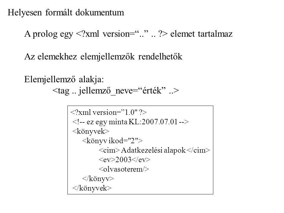 Helyesen formált dokumentum A prolog egy elemet tartalmaz Az elemekhez elemjellemzők rendelhetők Elemjellemző alakja: Adatkezelési alapok 2003