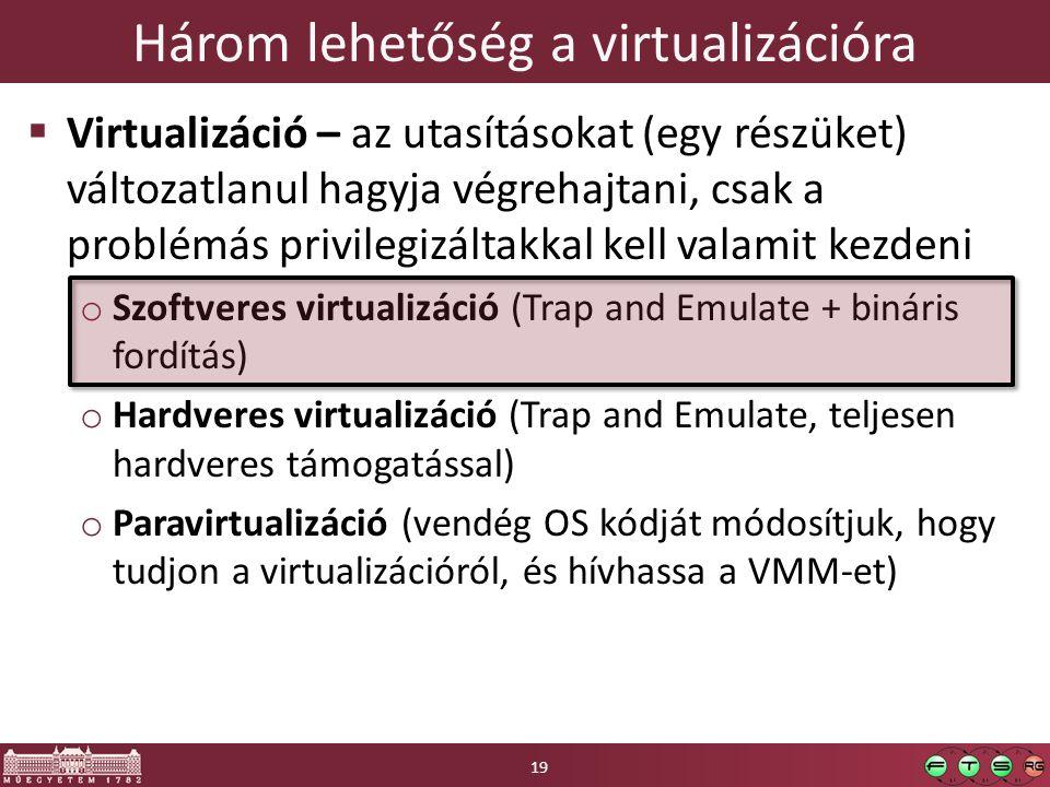 Három lehetőség a virtualizációra  Virtualizáció – az utasításokat (egy részüket) változatlanul hagyja végrehajtani, csak a problémás privilegizáltakkal kell valamit kezdeni o Szoftveres virtualizáció (Trap and Emulate + bináris fordítás) o Hardveres virtualizáció (Trap and Emulate, teljesen hardveres támogatással) o Paravirtualizáció (vendég OS kódját módosítjuk, hogy tudjon a virtualizációról, és hívhassa a VMM-et) 19