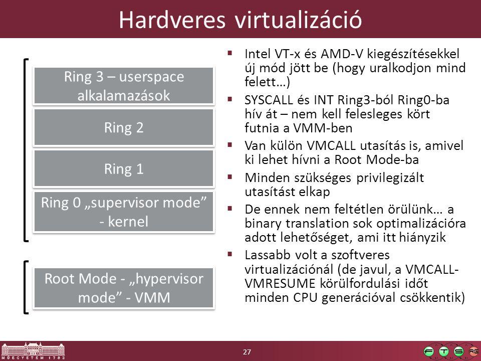 """Hardveres virtualizáció  Intel VT-x és AMD-V kiegészítésekkel új mód jött be (hogy uralkodjon mind felett…)  SYSCALL és INT Ring3-ból Ring0-ba hív át – nem kell felesleges kört futnia a VMM-ben  Van külön VMCALL utasítás is, amivel ki lehet hívni a Root Mode-ba  Minden szükséges privilegizált utasítást elkap  De ennek nem feltétlen örülünk… a binary translation sok optimalizációra adott lehetőséget, ami itt hiányzik  Lassabb volt a szoftveres virtualizációnál (de javul, a VMCALL- VMRESUME körülfordulási időt minden CPU generációval csökkentik) Ring 0 """"supervisor mode - kernel Ring 1 Ring 2 Ring 3 – userspace alkalamazások Root Mode - """"hypervisor mode - VMM 27"""