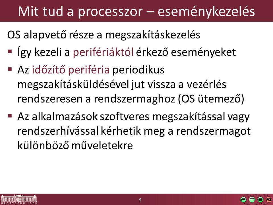 Mit tud a processzor – eseménykezelés OS alapvető része a megszakításkezelés  Így kezeli a perifériáktól érkező eseményeket  Az időzítő periféria periodikus megszakításküldésével jut vissza a vezérlés rendszeresen a rendszermaghoz (OS ütemező)  Az alkalmazások szoftveres megszakítással vagy rendszerhívással kérhetik meg a rendszermagot különböző műveletekre 9