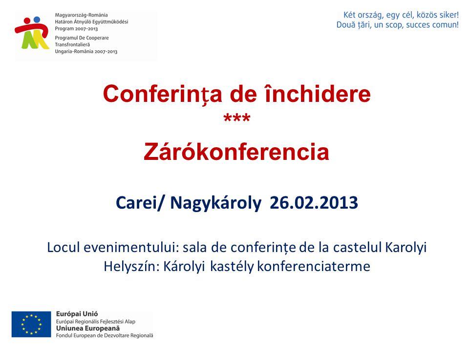 Conferina de închidere *** Zárókonferencia Carei/ Nagykároly 26.02.2013 Locul evenimentului: sala de conferințe de la castelul Karolyi Helyszín: Károlyi kastély konferenciaterme