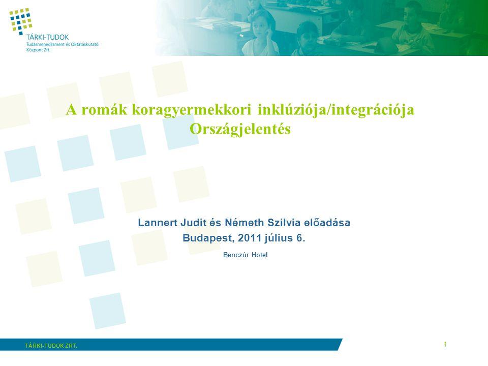 1 TÁRKI-TUDOK ZRT. A romák koragyermekkori inklúziója/integrációja Országjelentés Lannert Judit és Németh Szilvia előadása Budapest, 2011 július 6. Be