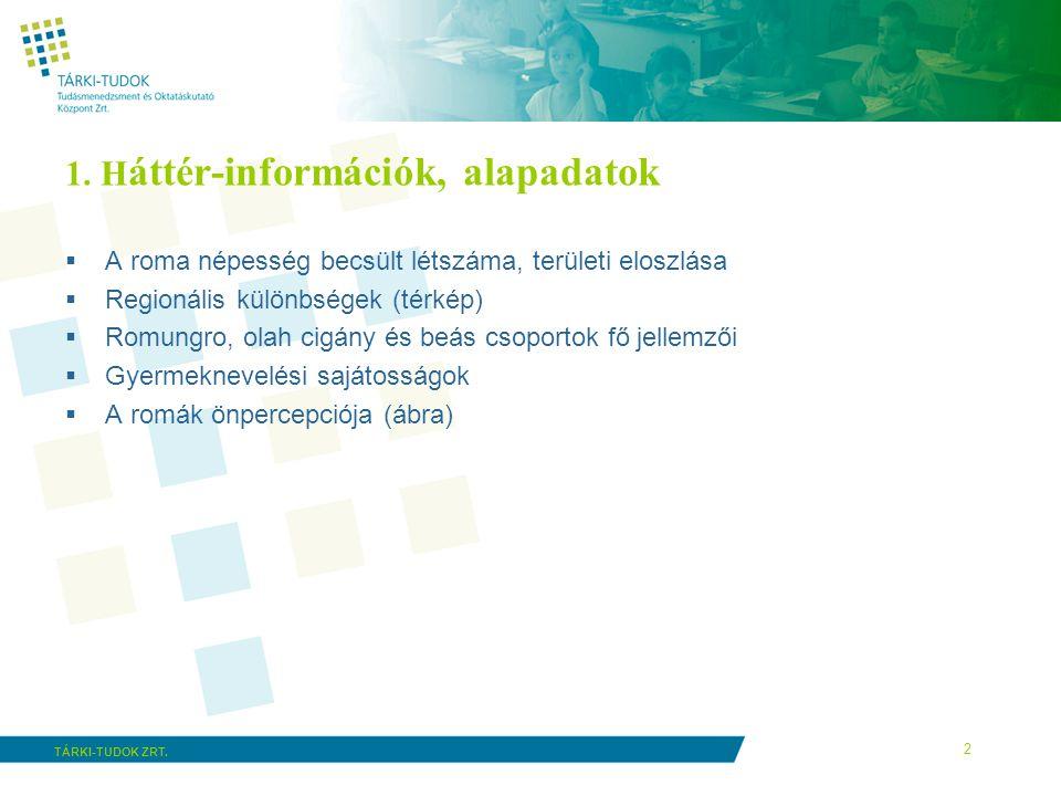 2 TÁRKI-TUDOK ZRT. 1. H áttér-információk, alapadatok  A roma népesség becsült létszáma, területi eloszlása  Regionális különbségek (térkép)  Romun