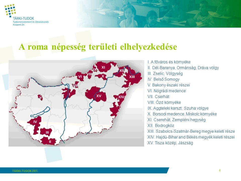 4 TÁRKI-TUDOK ZRT. A roma népesség területi elhelyezkedése I. A főváros és környéke II. Dél-Baranya, Ormánság, Dráva völgy III. Zselic, Völgység IV. B