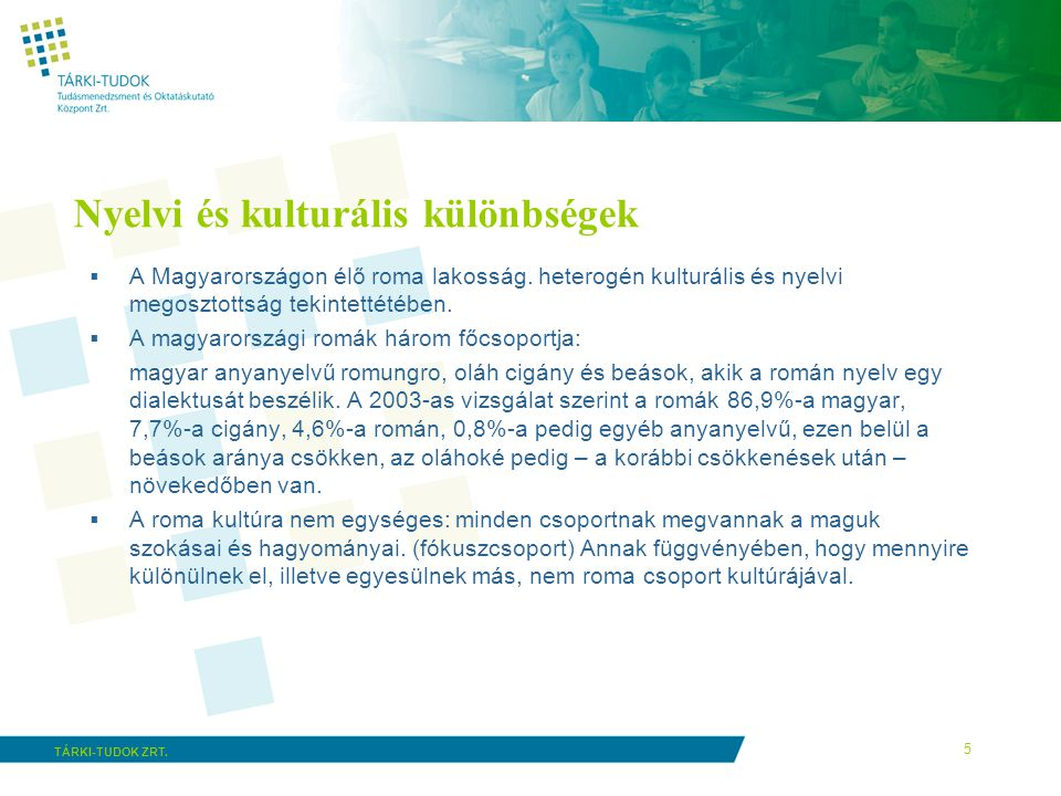 5 TÁRKI-TUDOK ZRT. Nyelvi és kulturális különbségek  A Magyarországon élő roma lakosság. heterogén kulturális és nyelvi megosztottság tekintettétében