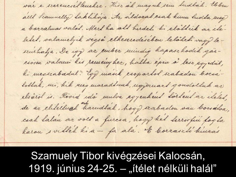 """Szamuely Tibor kivégzései Kalocsán, 1919. június 24-25. – """"ítélet nélküli halál"""