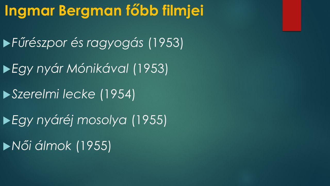 Ingmar Bergman főbb filmjei  Fűrészpor és ragyogás (1953)  Egy nyár Mónikával (1953)  Szerelmi lecke (1954)  Egy nyáréj mosolya (1955)  Női álmok (1955)
