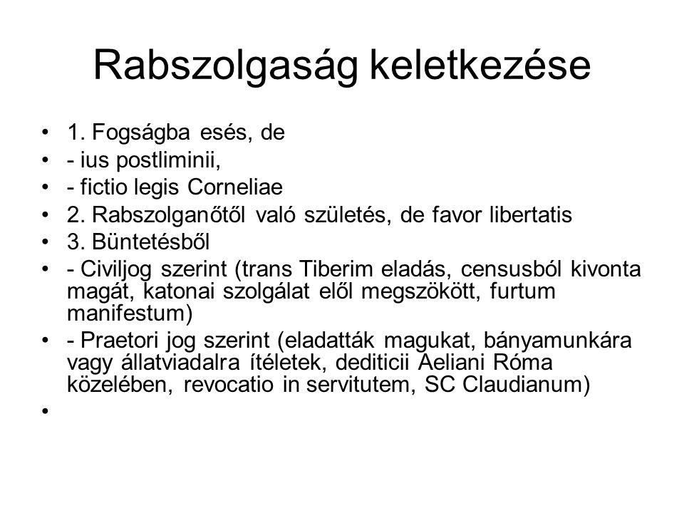 1. Fogságba esés, de - ius postliminii, - fictio legis Corneliae 2. Rabszolganőtől való születés, de favor libertatis 3. Büntetésből - Civiljog szerin