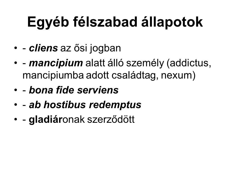 Egyéb félszabad állapotok - cliens az ősi jogban - mancipium alatt álló személy (addictus, mancipiumba adott családtag, nexum) - bona fide serviens -