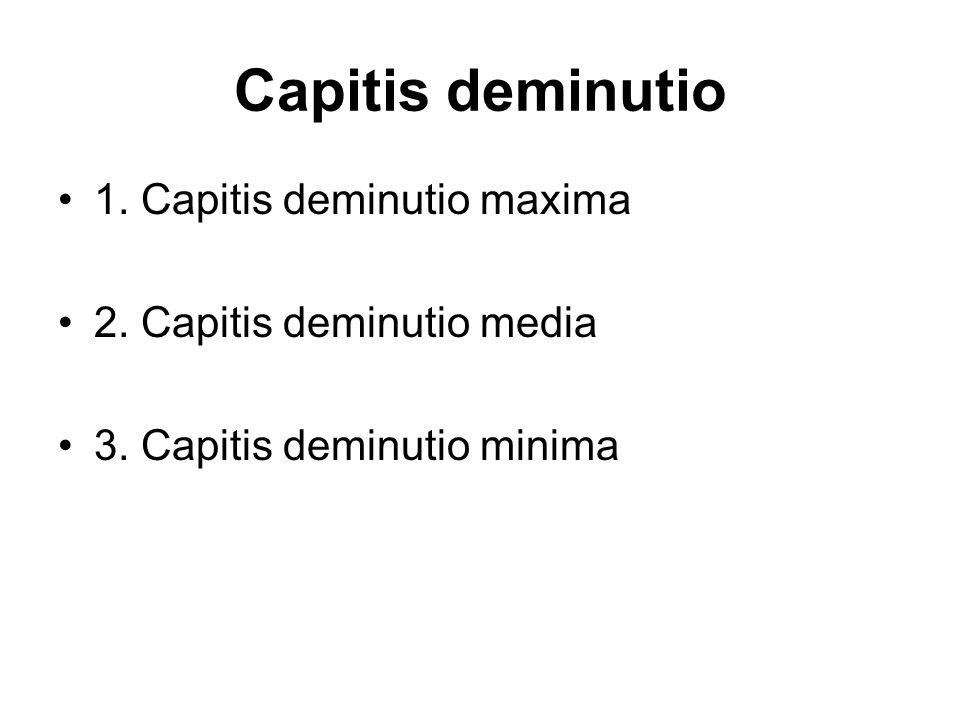 1. Capitis deminutio maxima 2. Capitis deminutio media 3. Capitis deminutio minima