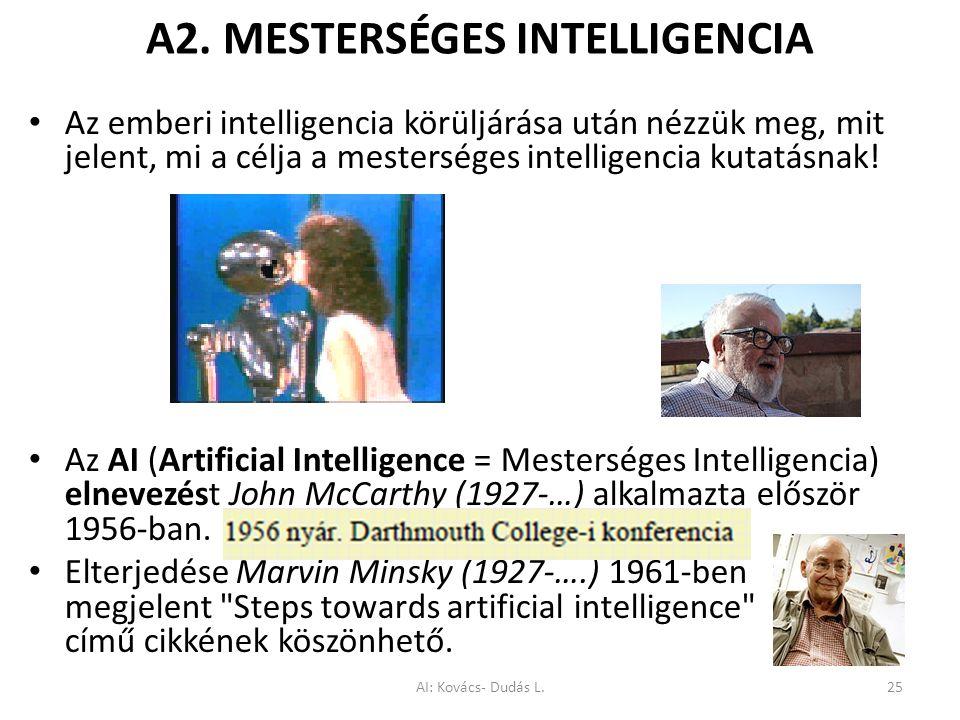A2. MESTERSÉGES INTELLIGENCIA Az emberi intelligencia körüljárása után nézzük meg, mit jelent, mi a célja a mesterséges intelligencia kutatásnak! Az A