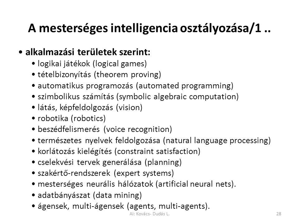 A mesterséges intelligencia osztályozása/1.. alkalmazási területek szerint: logikai játékok (logical games) tételbizonyítás (theorem proving) automati