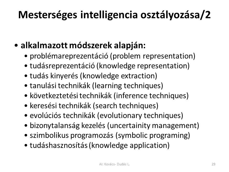 Mesterséges intelligencia osztályozása/2 alkalmazott módszerek alapján: problémareprezentáció (problem representation) tudásreprezentáció (knowledge r