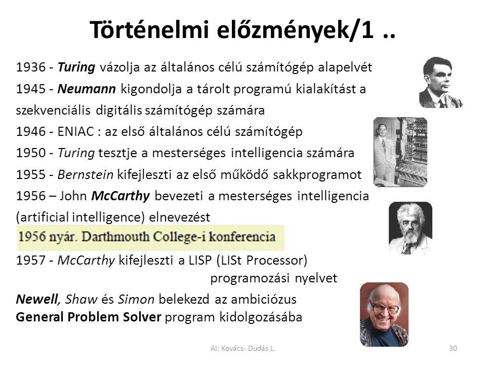 Történelmi előzmények/1.. 1936 - Turing vázolja az általános célú számítógép alapelvét 1945 - Neumann kigondolja a tárolt programú kialakítást a szekv