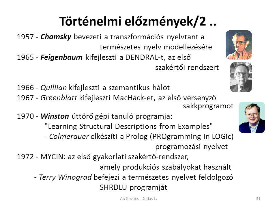 Történelmi előzmények/2.. 1957 - Chomsky bevezeti a transzformációs nyelvtant a természetes nyelv modellezésére 1965 - Feigenbaum kifejleszti a DENDRA