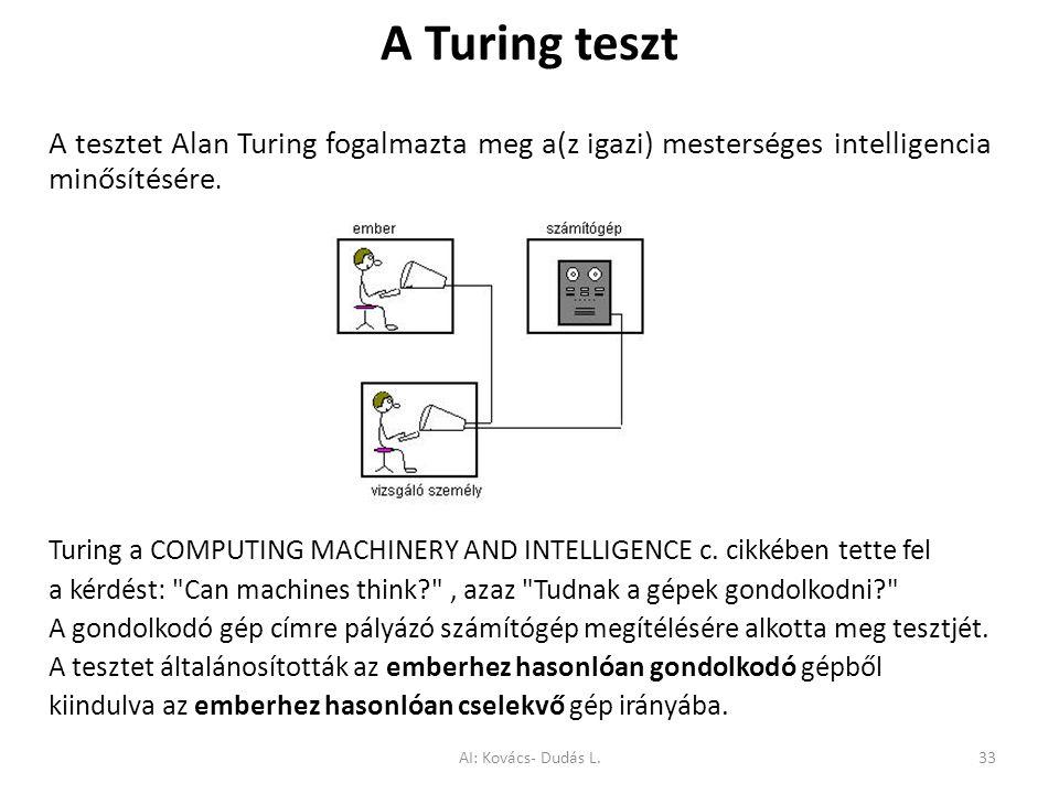 A Turing teszt A tesztet Alan Turing fogalmazta meg a(z igazi) mesterséges intelligencia minősítésére. Turing a COMPUTING MACHINERY AND INTELLIGENCE c